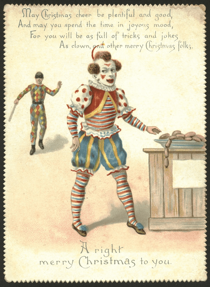 vintage Christmas card with illustration of clown attempting to steal sausage and second clown approaching to beat him with a club