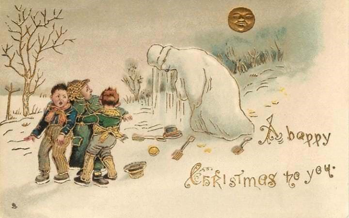 vintage Christmas card with illustration of children looking terrified after their snowman came to life
