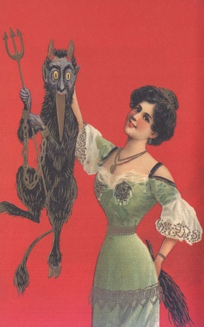 vintage Christmas card with illustration of woman holding scary devil creature by its neck