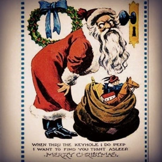 vintage Christmas card with illustration of scary looking Santa peeping through keyhole