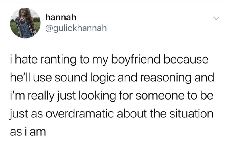 tweet post about hating to argue with a boyfriend because he is logical