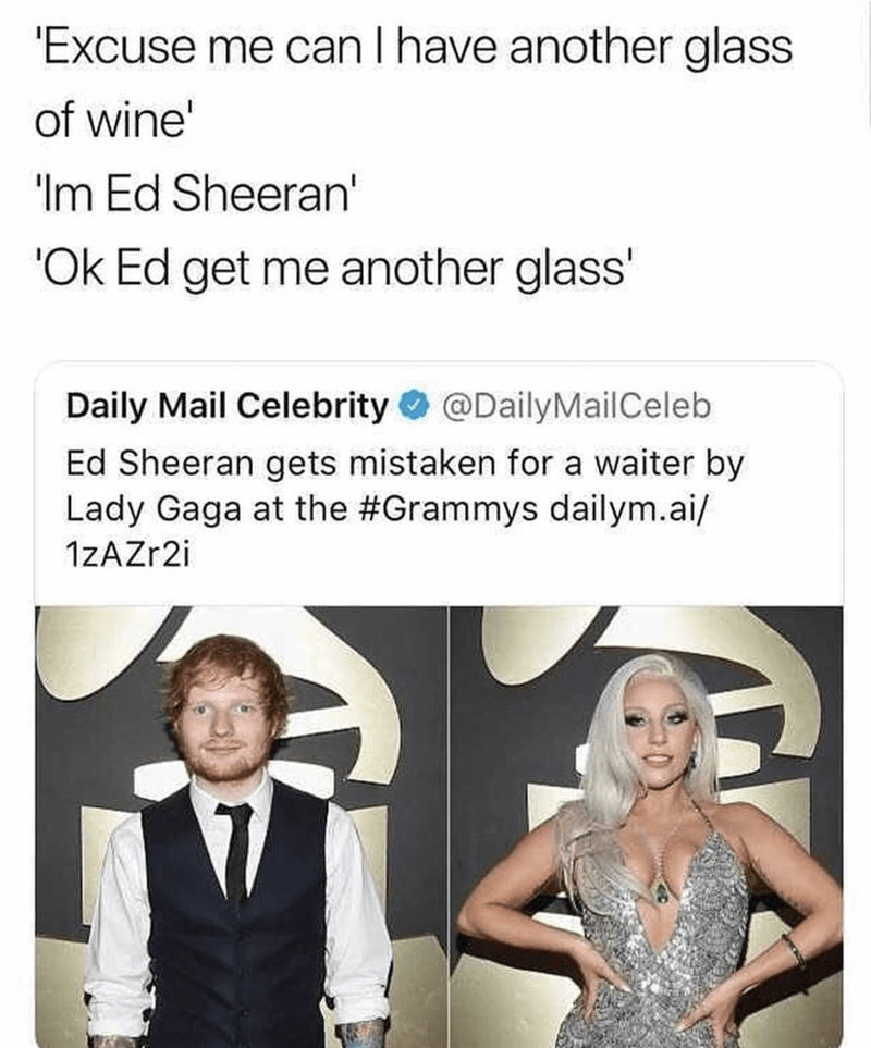 meme about Ed Sheeran being mistaken for a waiter