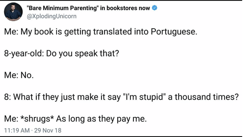 post about a kid asking about translating a book into Portuguese