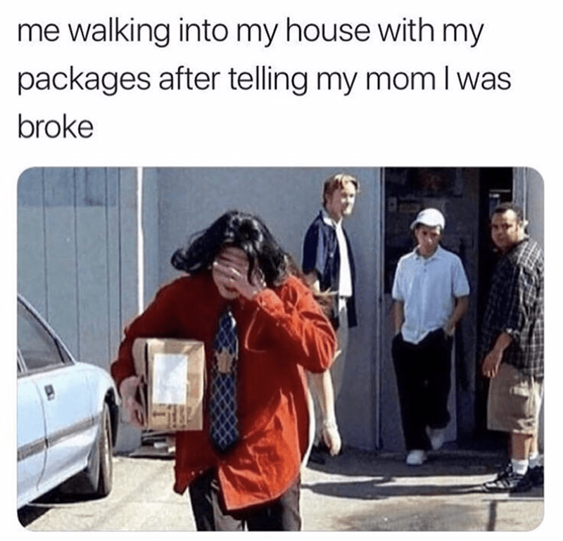 meme about hiding your purchases from your mom