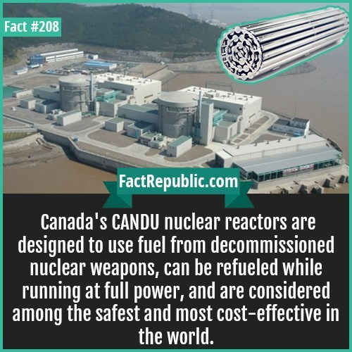 Electronics - Fact #208 FactRepublic.com Canada's CANDU nuclear reactors are designed to use fuel from decommissioned nuclear weapons, can be refueled while running at full power, and are considered among the safest and most cost-effective in the world.