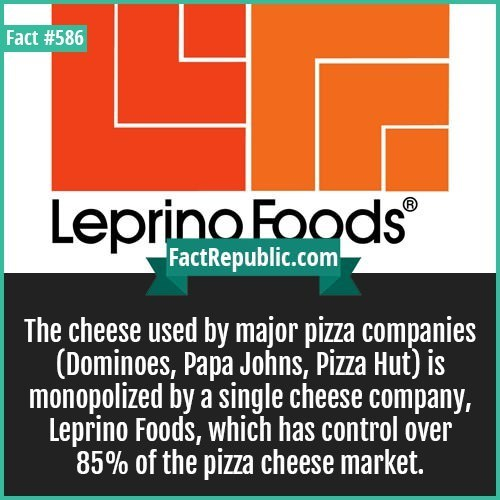 Text - Fact #586 LeprinoFoods® FactRepublic.com The cheese used by major pizza companies (Dominoes, Papa Johns, Pizza Hut) is monopolized by a single cheese company, Leprino Foods, which has control over 85% of the pizza cheese market.