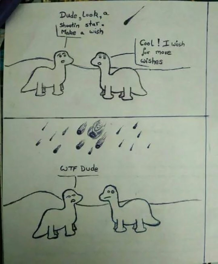 Comic about a dinosaur accidentally wishing to be hit by meteors