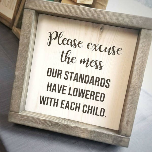 Font - Please excuse the mess OUR STANDARDS HAVE LOWERED WITH EACH CHILD.