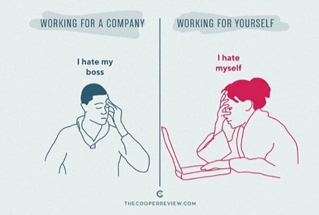 Text - WORKING FOR A COMPANY WORKING FOR YOURSELF I hate myself I hate my boss THECOOPERREVIEW.COM 2