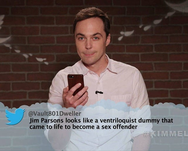 Cool - @Vault801Dweller Jim Parsons looks like a ventriloquist dummy that came to life to become a sex offender #KIMMEL