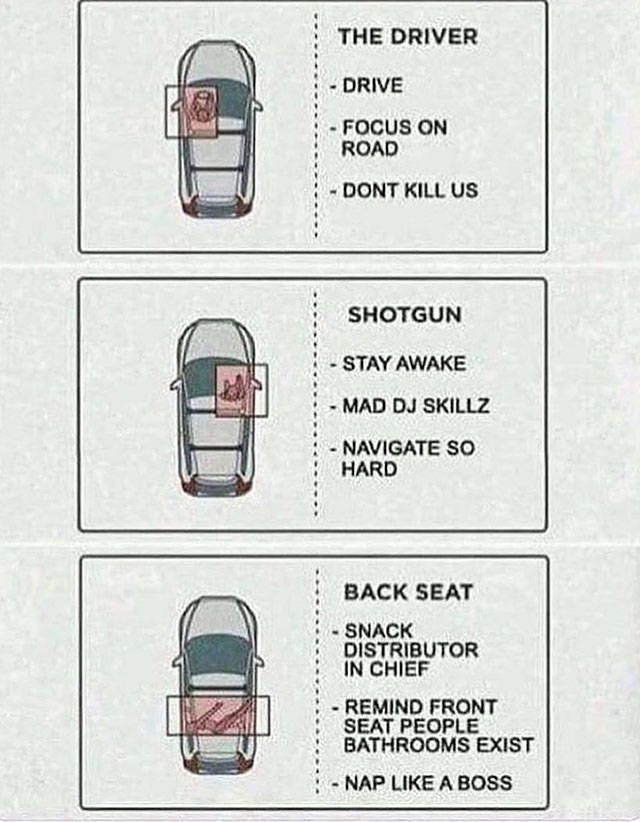 Motor vehicle - THE DRIVER - DRIVE - FOCUS ON ROAD DONT KILL US SHOTGUN -STAY AWAKE MAD DJ SKILLZ - NAVIGATE So HARD BACK SEAT - SNACK DISTRIBUTOR IN CHIEF -REMIND FRONT SEAT PEOPLE BATHROOMS EXIST NAP LIKE A BOss