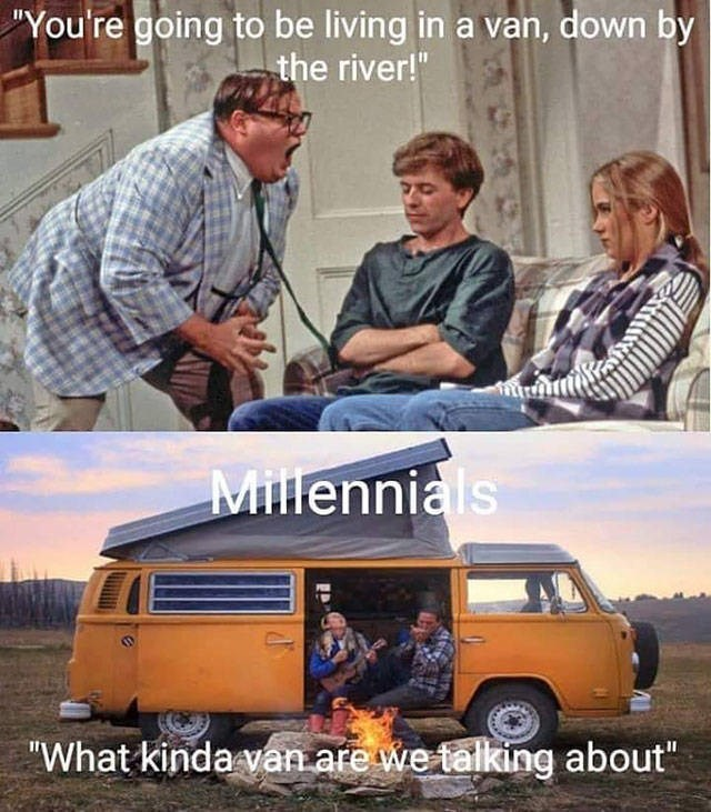 "Motor vehicle - ""You're going to be living in a van, down by the river!"" Millennials ""What kinda van are we talking about"""