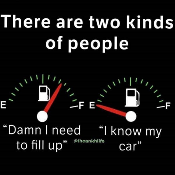"Speedometer - There are two kinds of people F -FE E ""Damn I need to fill up"" ""I know my @theankhlife car"""