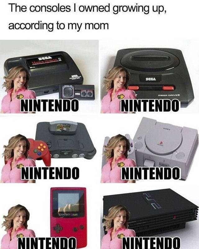 Electronic device - The consoles I owned growing up, according to my mom Master Sn n mean onve NINTENDO ININTENDO ONY NINTENDO NINTENDO Cwreorcoo NINTENDO ININTENDO