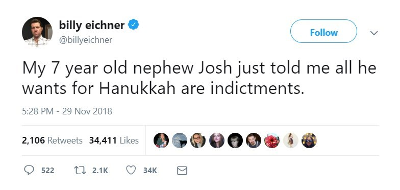 Text - billy eichner Follow @billyeichner My 7 year old nephew Josh just told me all he wants for Hanukkah are indictments. 5:28 PM 29 Nov 2018 2,106 Retweets 34,411 Likes ti 2.1K 522 34K