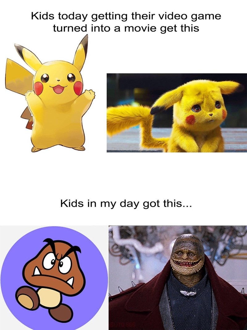 meme comparing movies based on video games in the 90s VS today