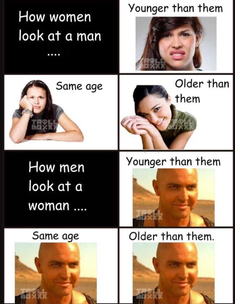 meme about women preferring older men while men like women of all ages