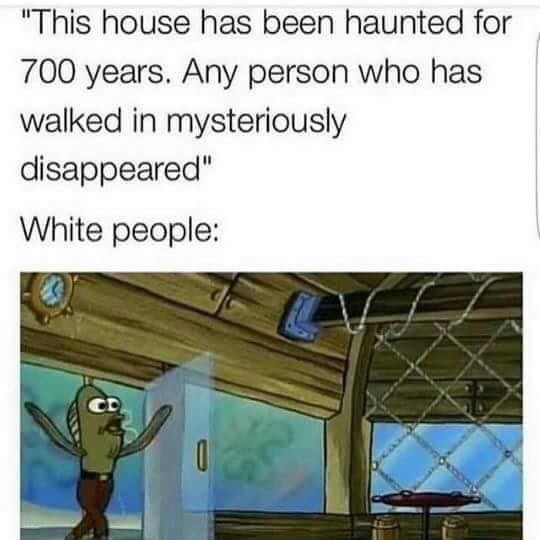 meme about white people moving into haunted houses in horror movies
