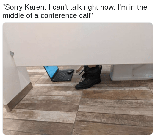 Meme of Karen calling at the worst time when he is in the bathroom on a conference call