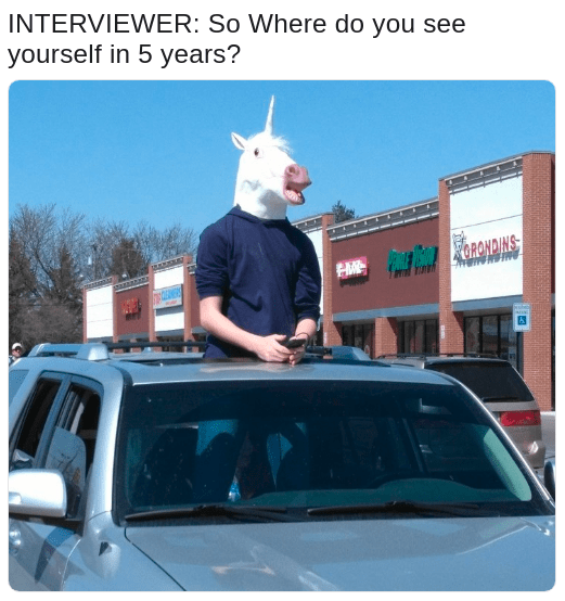 Horsemaning meme joking in an interview about what he wants to be in 5 years