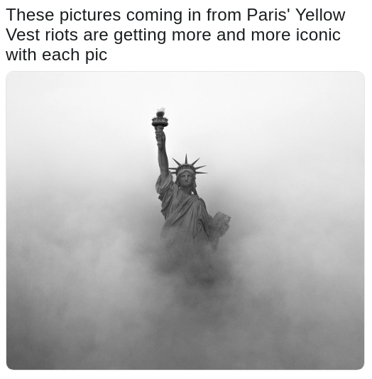 pic of the statue of liberty jokes as a yellow vest riot that is getting iconic pics