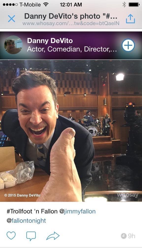 Pic of Danny DeVito's foot with Jimmy Fallon