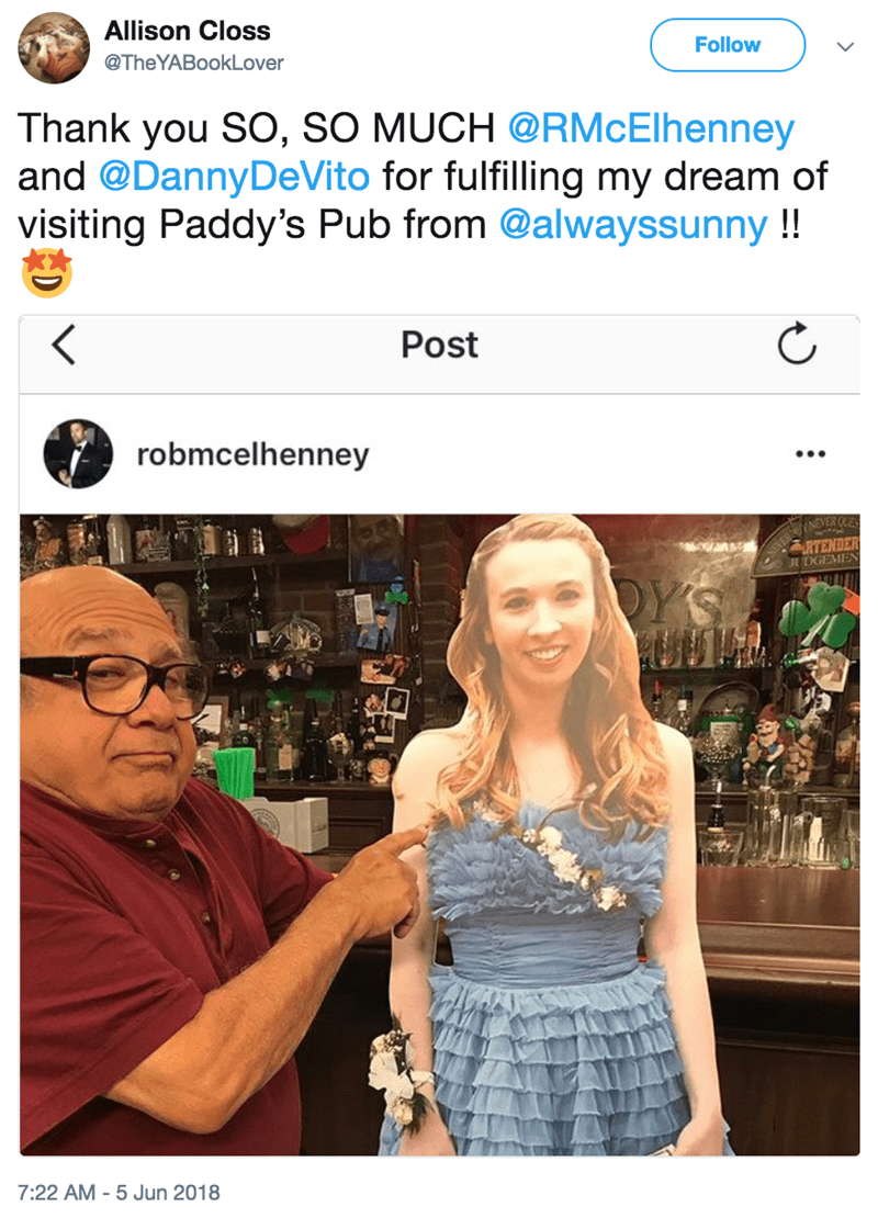 Cardboard cutout of a girl visiting the Always Sunny set with Danny DeVito