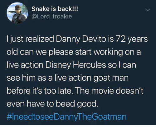 Tweet about Danny DeVito looking like Phil the satyr from Hercules