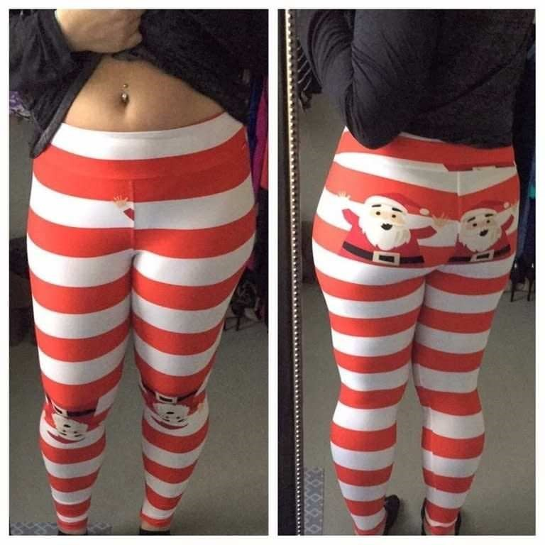 Pic of a girl wearing some Lularoe leggings where there are two Santas on the butt