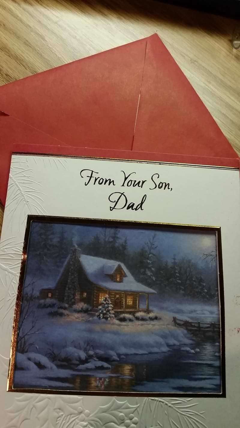 Christmas design fail for a Christmas card that is from a son to his dad