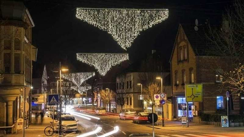 Christmas design fail of holiday lights on a street that look like bikini bottoms