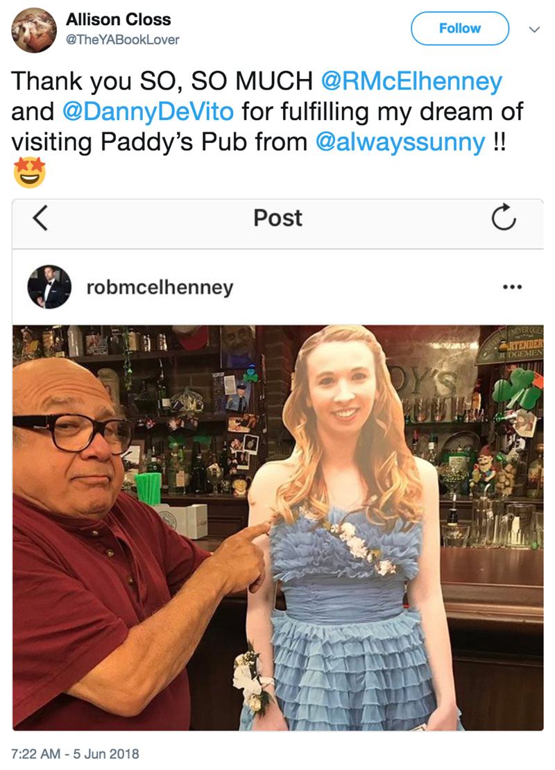 funny twitter post danny devito danny devito holdingn cardboard cutout of girl in bar Thank you SO, SO MUCH @RMcElhenney and @DannyDeVito for fulfilling my dream of visiting Paddy's Pub from @alwayssunny