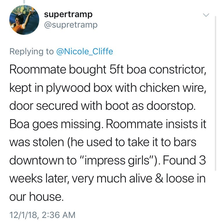 "Text - supertramp @supretramp Replying to @Nicole_Cliffe Roommate bought 5ft boa constrictor, kept in plywood box with chicken wire, door secured with boot as doorstop. Boa goes missing. Roommate insists it was stolen (he used to take it to bars downtown to ""impress girls""). Found 3 weeks later, very much alive & loose in our house. 12/1/18, 2:36 AM"