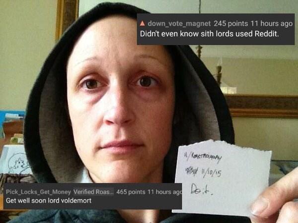 Reddit's r/roastme that a woman looks like Voldemort