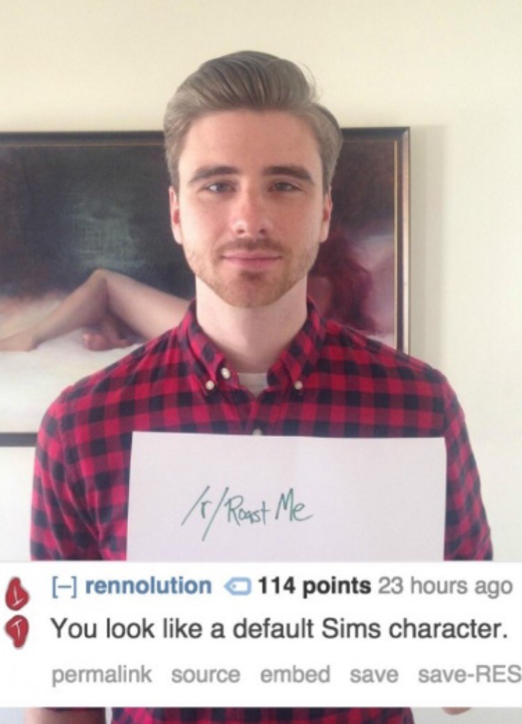 Reddit's r/roastme that a guy looks like a Sims character
