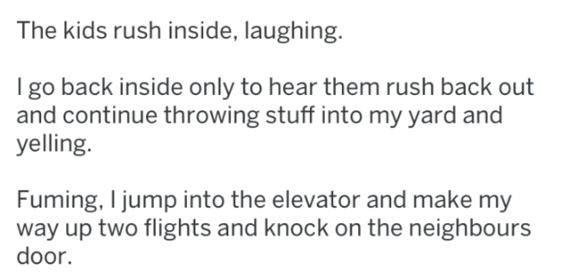 Text - The kids rush inside, laughing. I go back inside only to hear them rush back out and continue throwing stuff into my yard and yelling. Fuming, I jump into the elevator and make my way up two flights and knock on the neighbours door