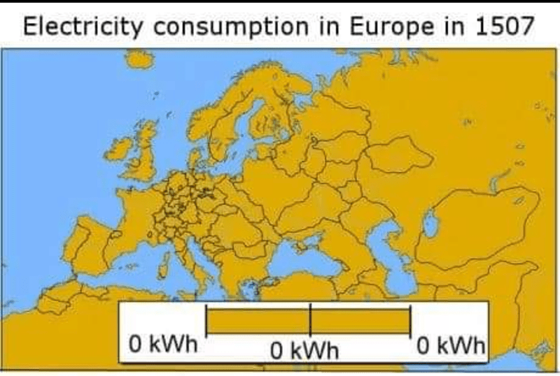 post of the lack of electricity in Europe in 1507