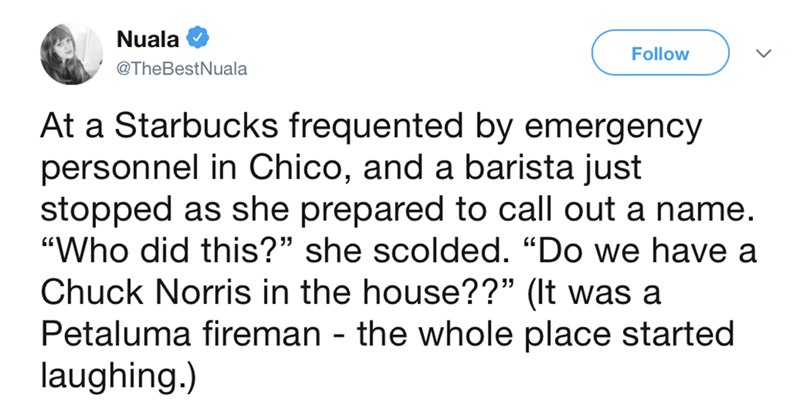 """post about a Starbucks barista calling out """"chuck Morris"""""""