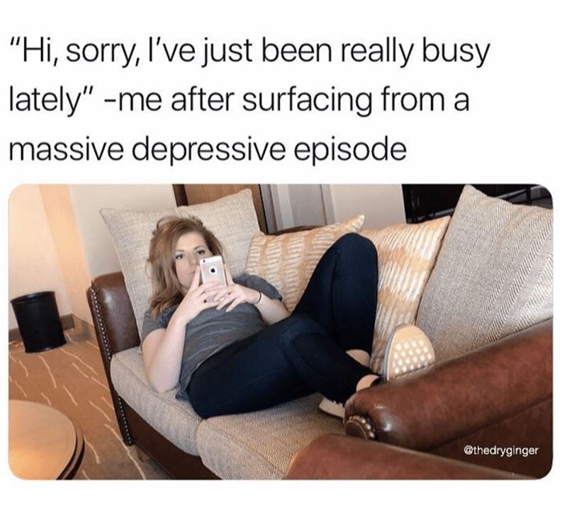 meme about saying you were busy even though you were having mental issues