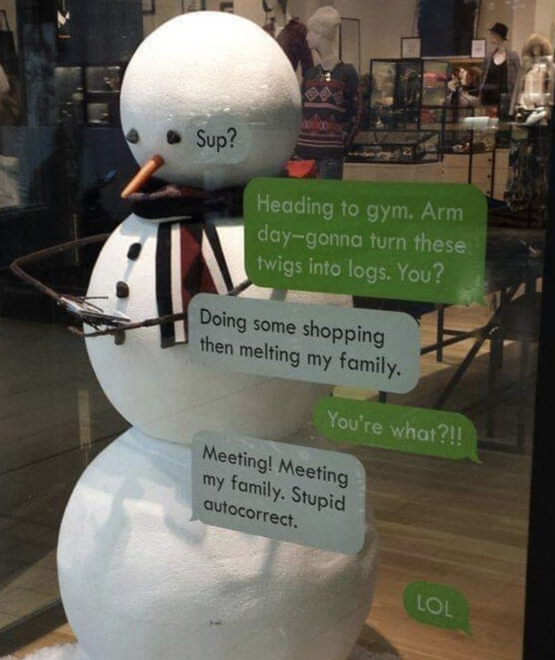 meme of a snow man wanting to work out and melting his family