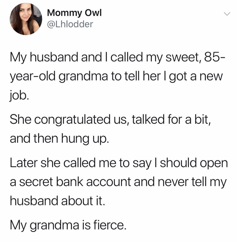 post about a grandma giving advice to open a secret bank account when you're married