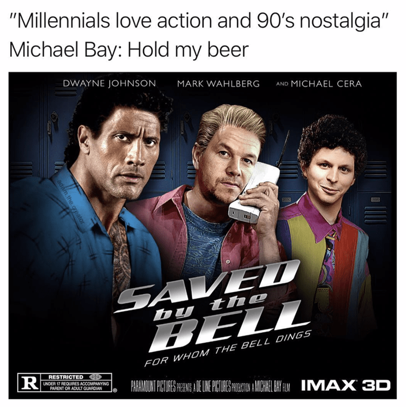 """meme about a millennial version of """"saved by the bell"""""""