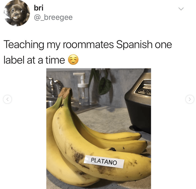 post about putting labels on foods to teach people Spanish