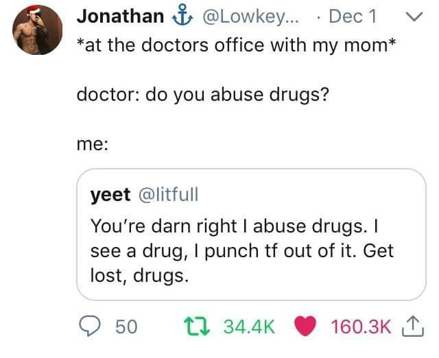 post about going to the doctor with your mom and saying you are against drugs
