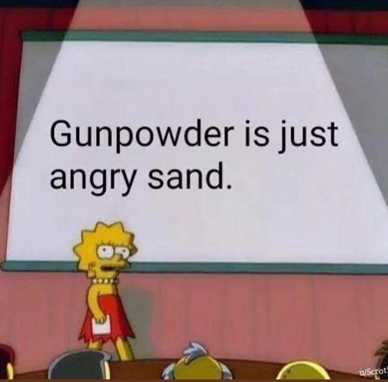 Lisa Simpson meme about gunpowder is just angry sand on a stage