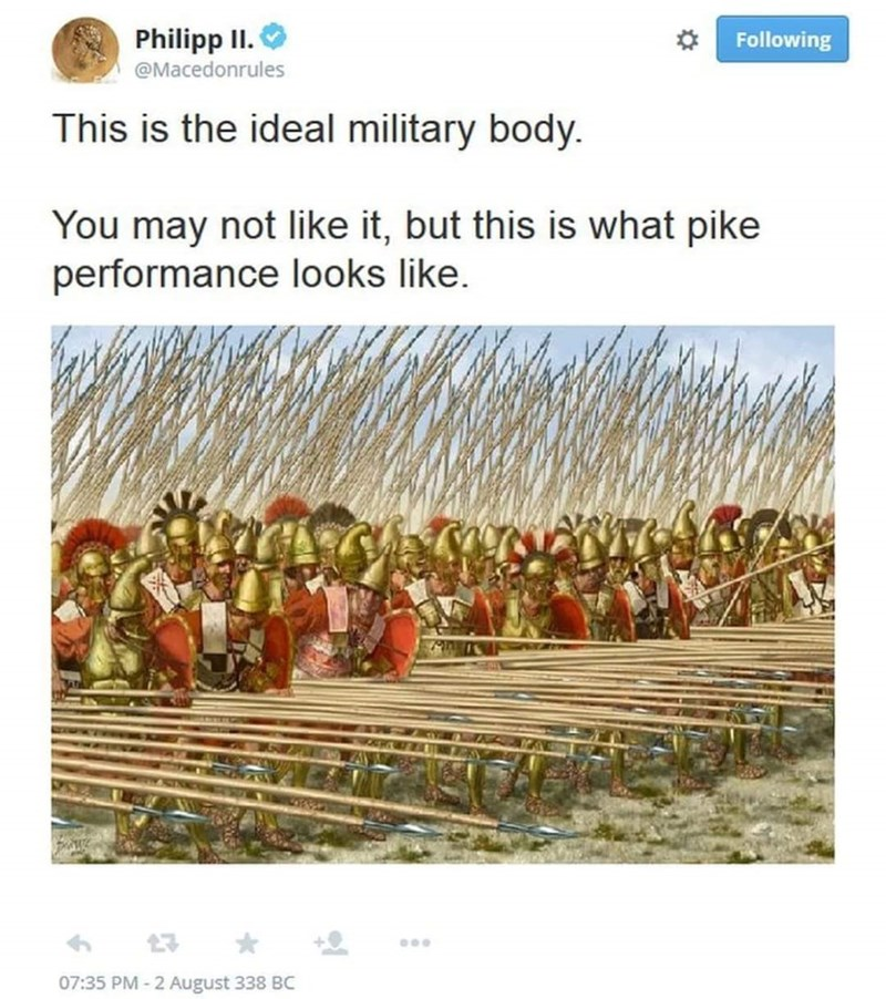 meme about macedonian phalanx being the ideal army