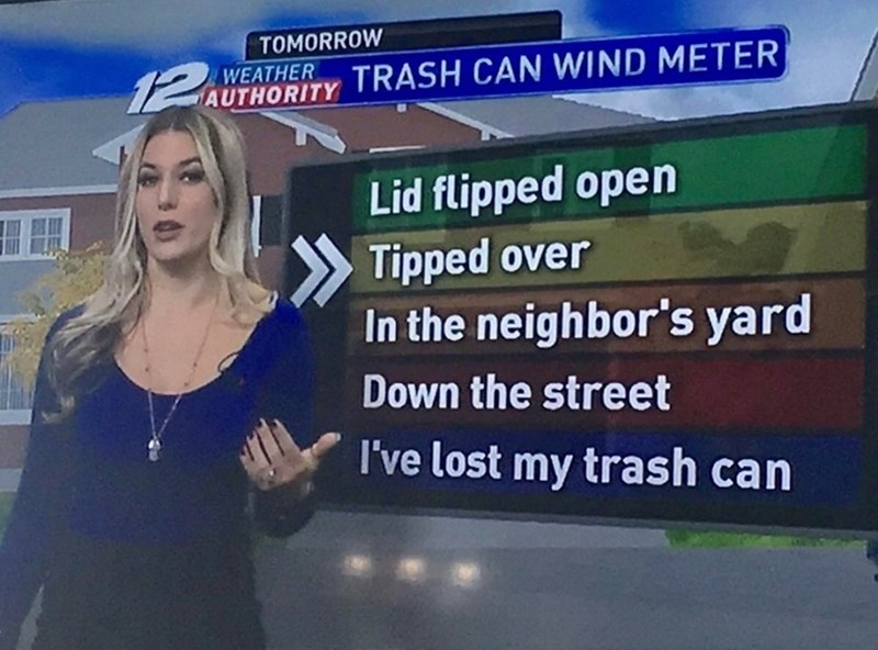 meme about a new anchor describing a trash can wind meter