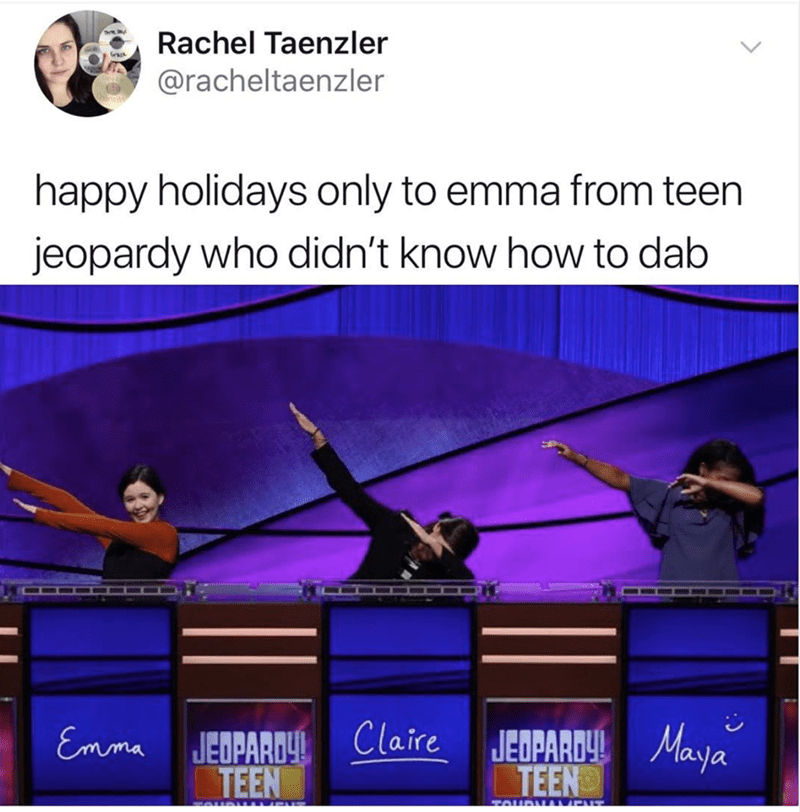 meme about a girl on jeopardy that didn't know how to dab