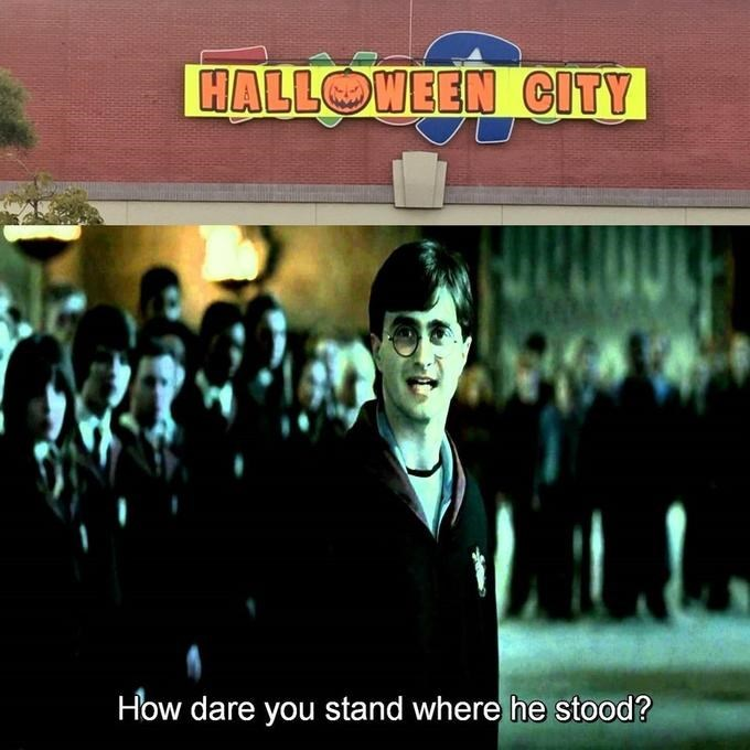 Harry Potter reacting accusingly to Halloween City replacing a Toys R' Us location