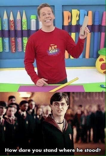 Harry Potter reacting accusingly to Art Attack host